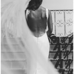 Bride in Backless Wedding Dress and Floor Length Veil | Kristine Marie Photography