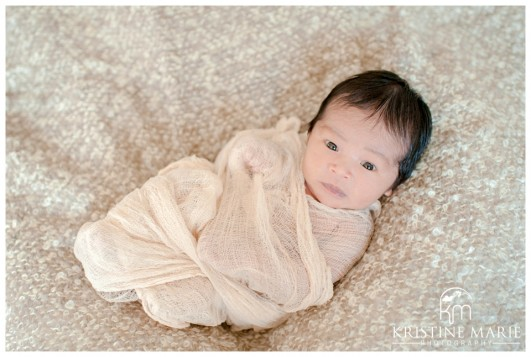 Awake newborn baby wrapped photo san diego newborn baby photographer kristine marie photography