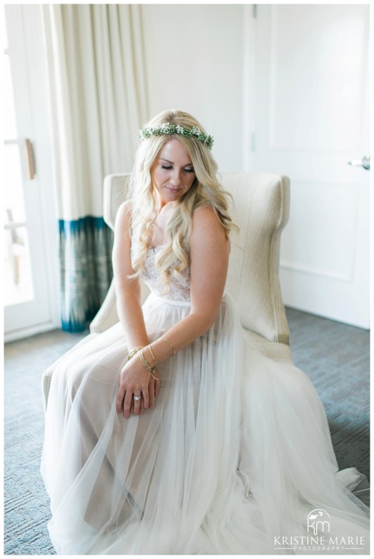 5b580d563ed3 Portrait of Bride in BHLDN Wedding Dress and Floral Crown | Park Hyatt  Aviara Resort Wedding